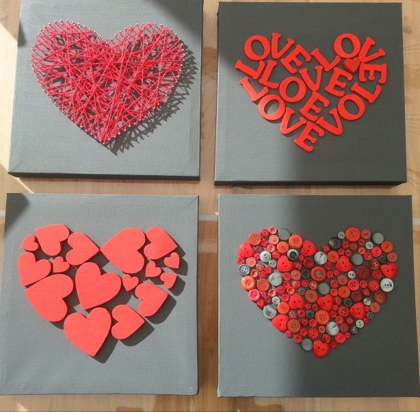 Beautiful hearts on canvas. Fun for Valentine's day or mother/father's day.