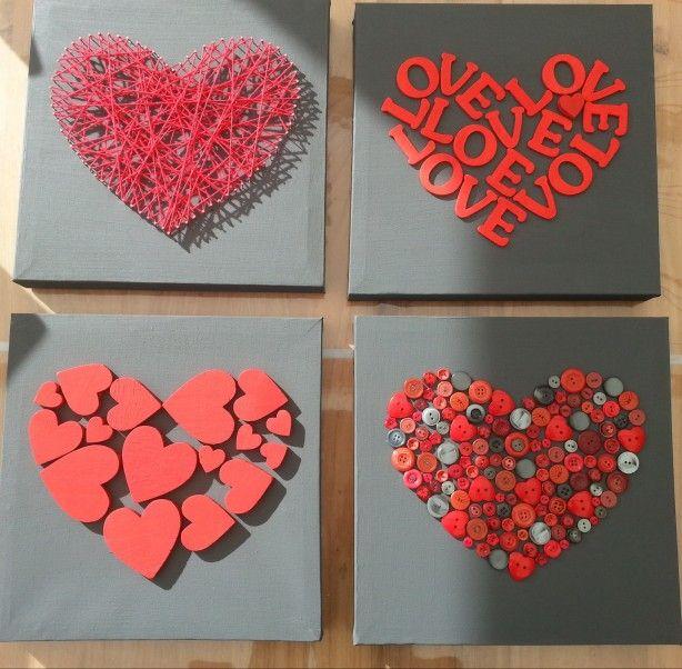 Idée pour la fête des mères ou des pères /Mooie harten op canvasdoek. Leuk voor Valentijnsdag of moeder/vaderdag.