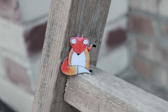 FREE shipping Fox brooch fox jewelry  Animal by Dinabijushop