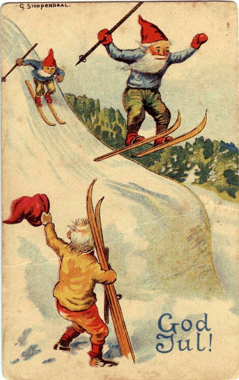 God Jul- (nisser på skihopp) sign. Georg Stoopendaal