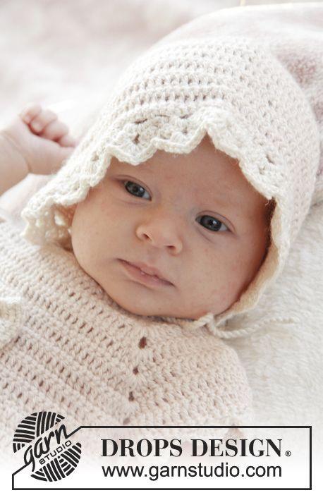 Capota a ganchillo DROPS con patrón de abanicos en BabyAlpaca Silk. Talla prematuro - 4 años. Patrón gratuito de DROPS Design.