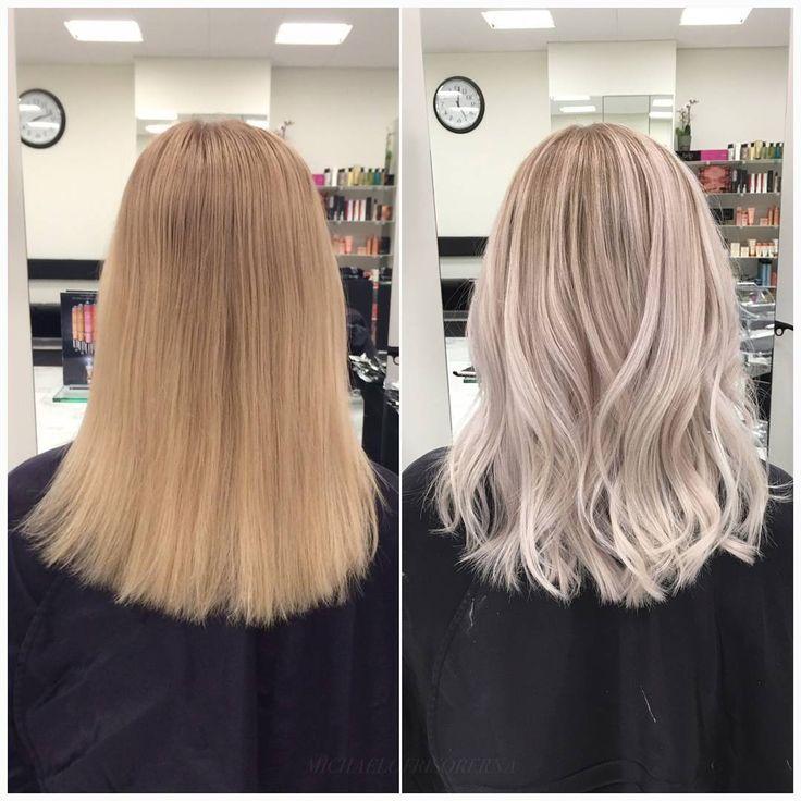 Vi ljusar upp hela håret med balayageteknik och låter kundens naturliga botten vara kvar. Så snyggt! #sombre #platinumblonde #lighterhair