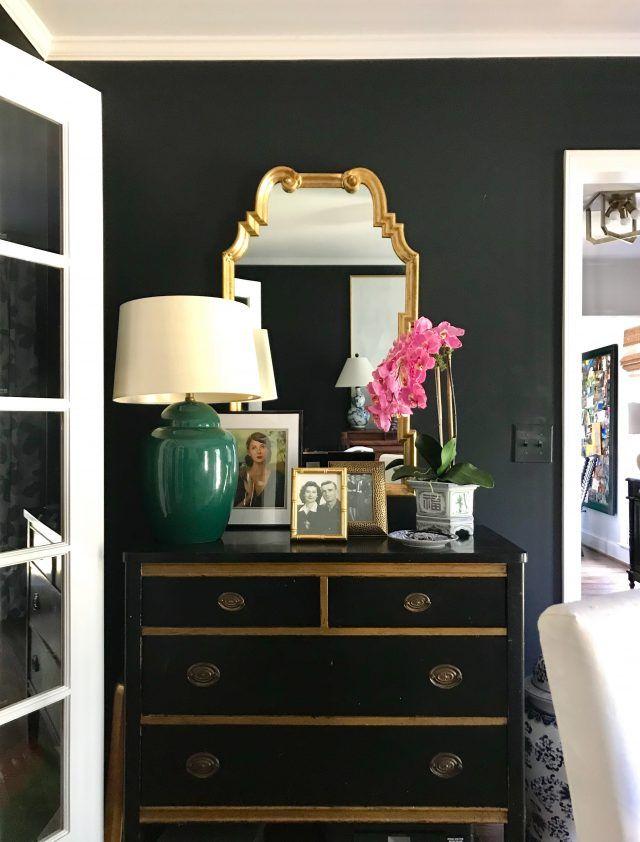 Black & Blue: Two Paint Colors I've Used (black walls, vintage chest, Hollywood Regency mirror, vignette, emerald green)