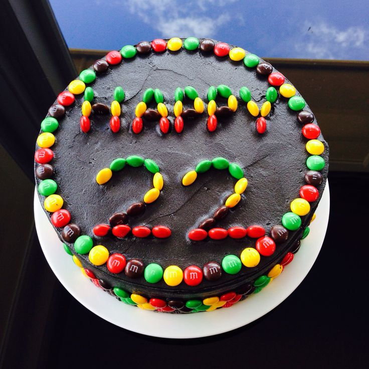 Rasta cake ideas Black icing with m&ms