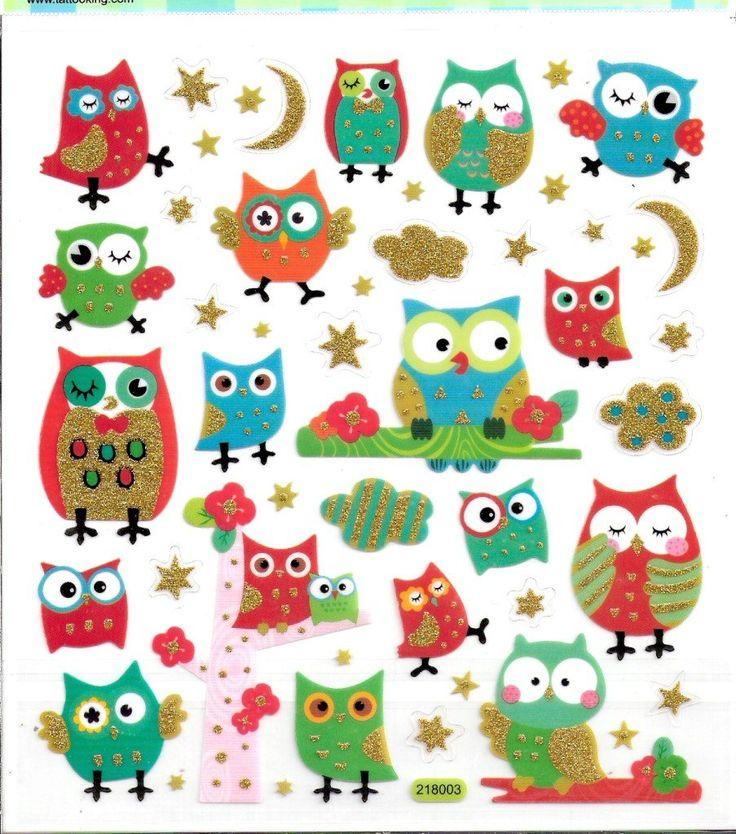 Owl scrapbook stickers w gold glitter accents the owls are so cute
