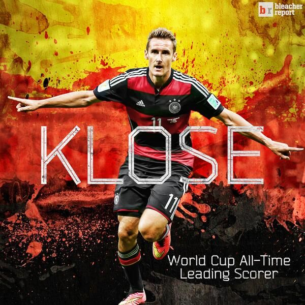 Germany's Miroslav #Klose passed Ronaldo for most goals scored in World Cup history #WorldCup