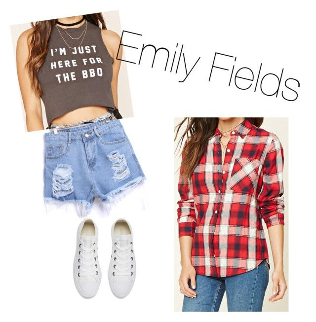"""""""Emily Fields"""" by saragrodrigues on Polyvore featuring Forever 21 and Converse"""