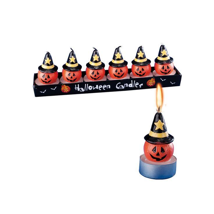 6 candele zucca c/cappello H.CM.5 CA. in scatola