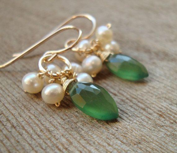 green, gold, pearl earrings!