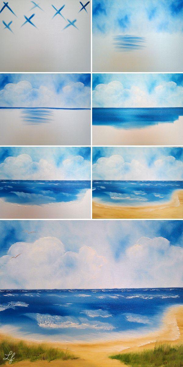 Ostsee-Bild mit der Technik von Bob Ross malen