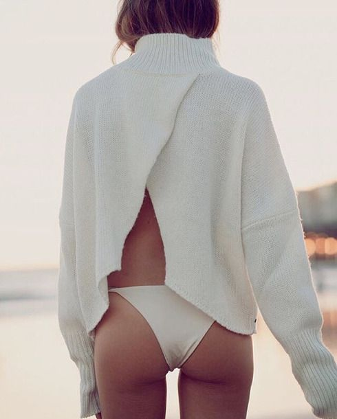 Open Slit Back Cream White Fluffy Comfy Jumper Sweater And White Bikini Bottoms Beach Babe Style