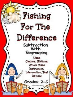 Fishing For The Difference - Subtraction With Regrouping  This is a subtraction with regrouping activity.  This activity can be used in math centers, stations, small groups, or as a review of subtraction skills.  Just print, copy, cut, and laminate this activity for a resource that you can use year after year.    32 Task Cards Included There are four task cards per page.