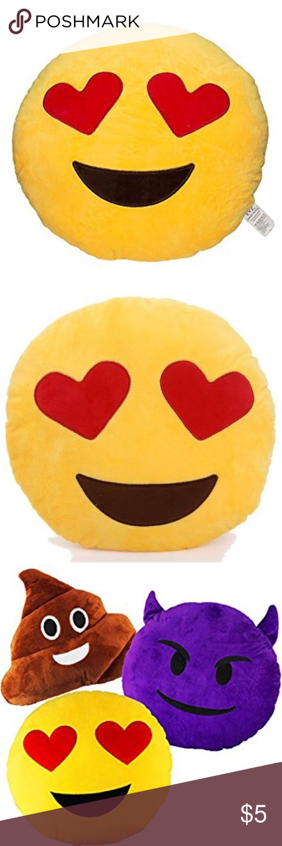 Heart Eyes Emoji Pillow 😍😍 BRAND NEW Heart Eyes Emoji Pillow 😍 never been opened or used 😍 soft, fluffy Heart Eyes Emoji Pillow 😍 Other