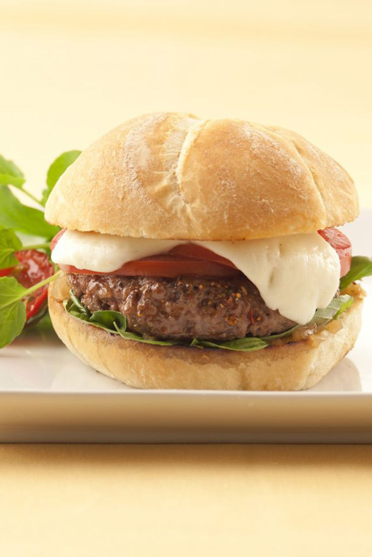 Looking for an Italian spin on the traditional American burger for July 4th? Try this Caprese Burger with Galbani Mozzarella.