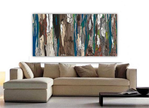 VERY LARGE Wall Art Extra Large Painting Print Long Tree Canvas Dining Room Blue Gray Brown Abstract Landscape Living Bedroom Artwork