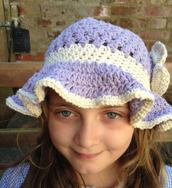 Crochet cotton Baby sun hat .Toddlers Sun hat. Girls Lilac Sun Hat. Sizes Newborn - 10 years old.