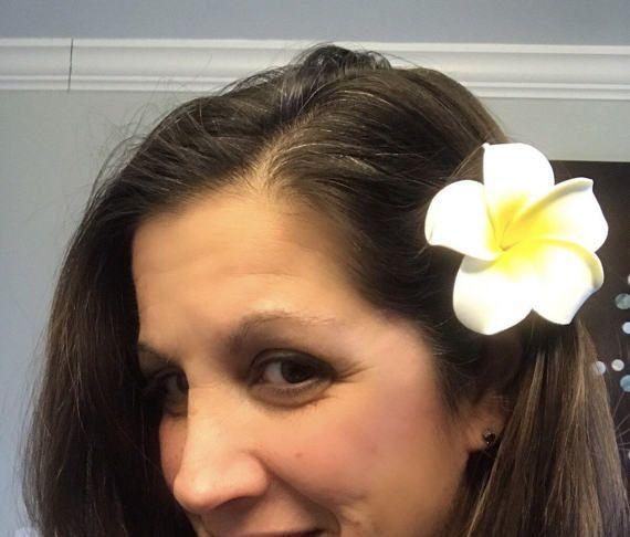 Plumeria Hawaiian flower hair clips artificial frangipani foam