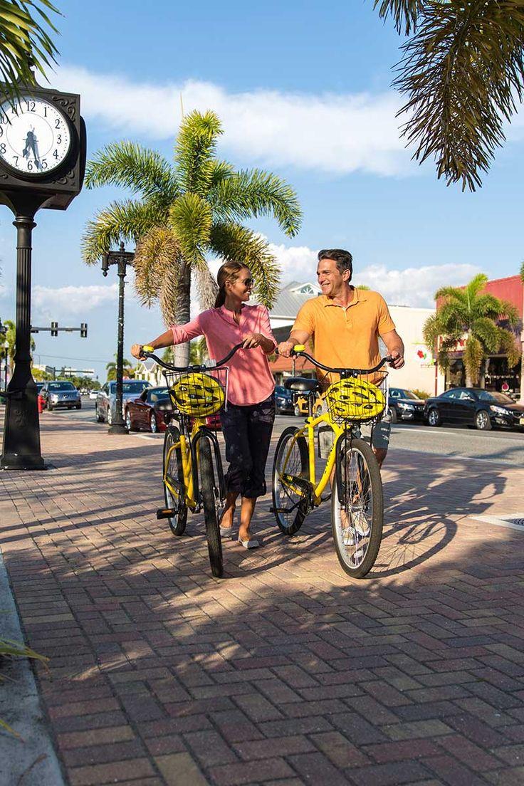 Exploring downtown Punta Gorda on Bikes from the Free Bike Loaner Program.