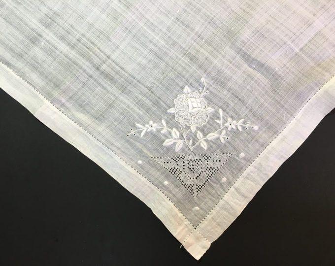 Large White Ladies Handkerchief - Madeira Linen Vintage Hankie - Bridal - Wedding Accessories - Bridal Shower Gift - Bridesmaid Gift - Hanky to buy click image #Wedding #Bridal #WeddingHankie #BridalHankie #LadiesHandkerchief #VintageHandkerchief