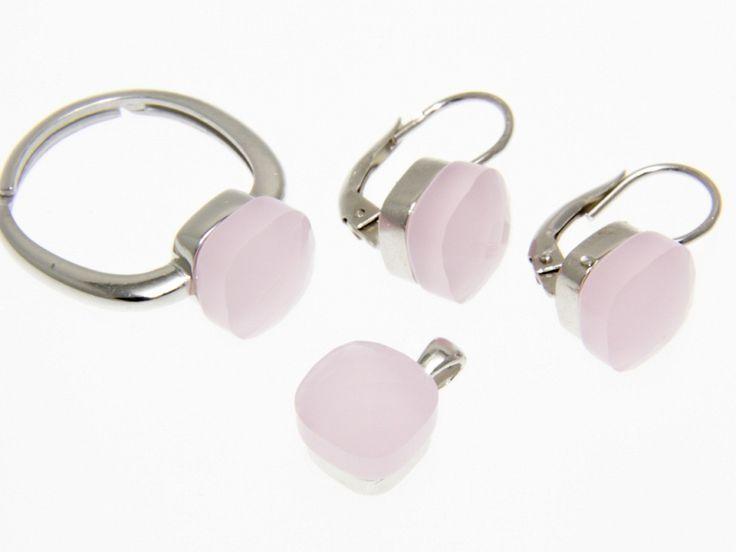 Rózsaszín Swarovski kristályos ezüst fülbevaló medál és gyűrű szett