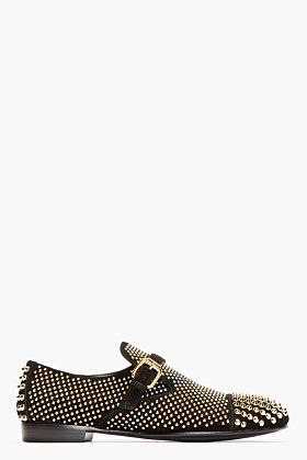 Giuseppe Zanotti Black Studded Suede Buckled Loafers for men | SSENSE