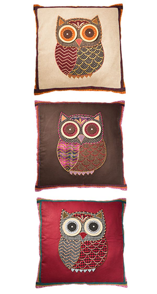 Tweed Applique Owl Cushion Cover. 3 colours available.