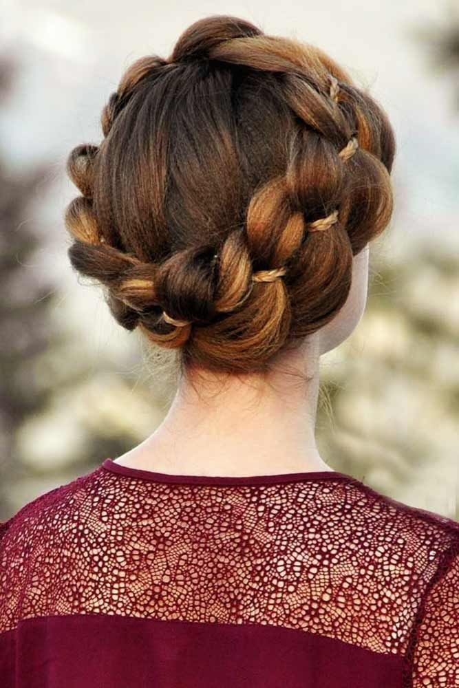 Textured Dutch 4-Strand Crown Braid With A Micro Braid #braids #updo ❤️ Looking for hairstyles with crimped hair? Big wavy braids for long hair, m...