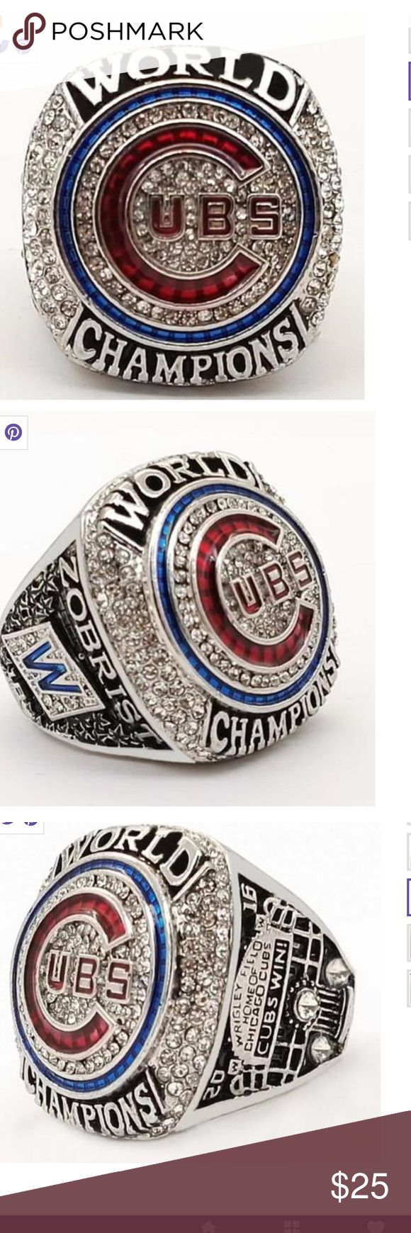 Jewelry 2016-2017 Chicago Cubs Championship replica ring. White gold plated. Hey you CUB fans you waited along time for this so own a piece of history. Great gift for the hardcore cubs fan!! Jewelry Rings