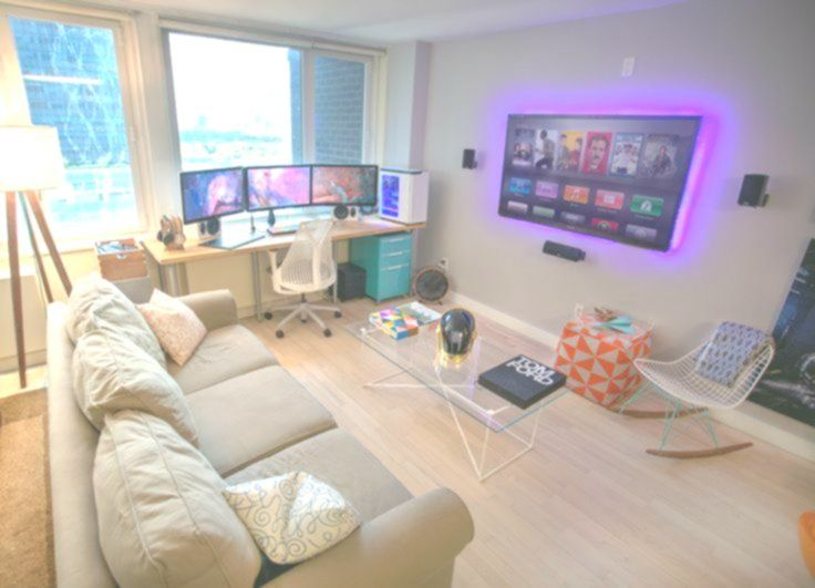 Really Like This Set Up For A Gaming Room Would Work Perfect With Two Tvs And M Ro Entertainment Room Design Apartment Living Room Minimalist Living Room