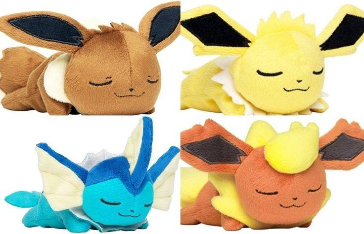 Pokemon Center Plush Doll Kuttari Oyasumi Ver Eevee Vaporeon Flareon Jolteon In Collectibles