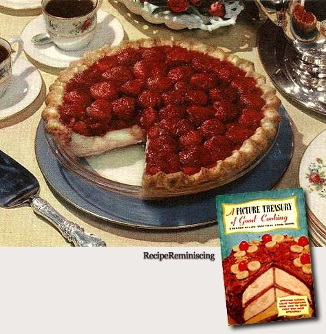"Strawberry Custard Pie – Jordbær Og Vaniljesaus Pai - A recipe from ""A Picture Treasury Of Good Cooking"" (En Matlagnings Skatt I Bilder) published by Tested Recipe Institute in 1953"