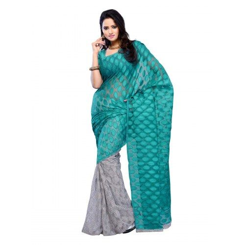 Blue Color Jacquard and Georgette Fabric Designer Saree For Casual Wear