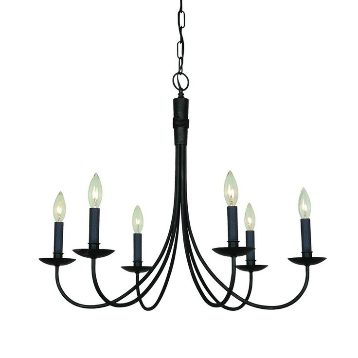 Artcraft Lighting Wrought Iron 28-in 6-Light Ebony Black Wrought Iron Candle Chandelier