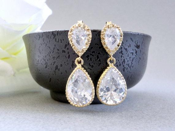 Bridal earrings Cubic Zirconia bridal earrings by KeyYoung on Etsy, $28.00
