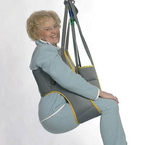The sling is designed to make toileting easier for the elderly or disabled. It allows easy access for the adjustment of clothing.