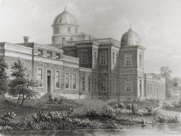 Het gebouw van de sterrenwacht op het Grote Bolwerkte aan de Witte Singel te Leiden. Hier werd de Verificatie van 's Rijks Zee-instrumenten onderbegracht ten tijde van prof. Kaiser.