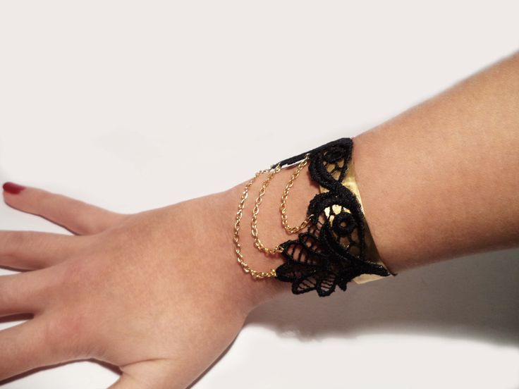 Gold plated bracelet hammered cuff with lace and chain by Algo Elegante  www.facebook.com/algo.elegante  #bracelet #cuff #hammered #metal #lace #black #chain #gold_plated #jewelry #fashion #women #handmade #algoelegante #forged  #victorian #elegance