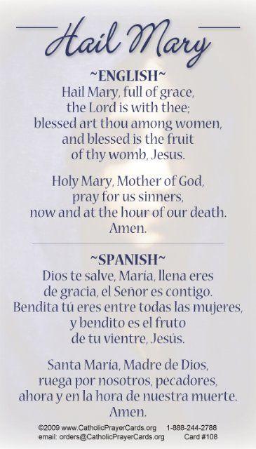 *BILINGUAL* Hail Mary Prayer Card (English/Spanish)