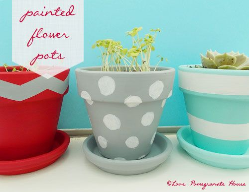 Painted Flower Pots ... In the color or design idea of the theme ( whatever we choose) put on tables as part of centerpiece.