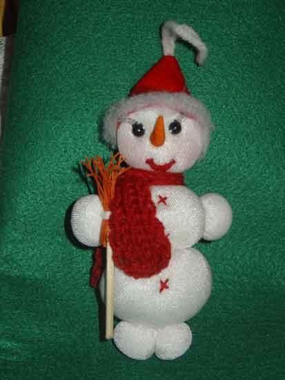 Предлагаю сделать снеговичка на елку в технике текстильной куклы.Работа расчитана на начинающих учиться этой технике. Высота игрушки 15 см. Нам потребуется: белые колготки синтепон веревочка красный фетр деревянная шпажка красные румяна реснички накладные носик из пластики (или заостреная палочка) 2 бусинки для глазок ножницы,швейные нитки,иголки клеевой пистолет или клей момент кристалл…