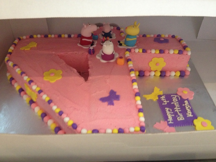 Peppa Pig party number cake