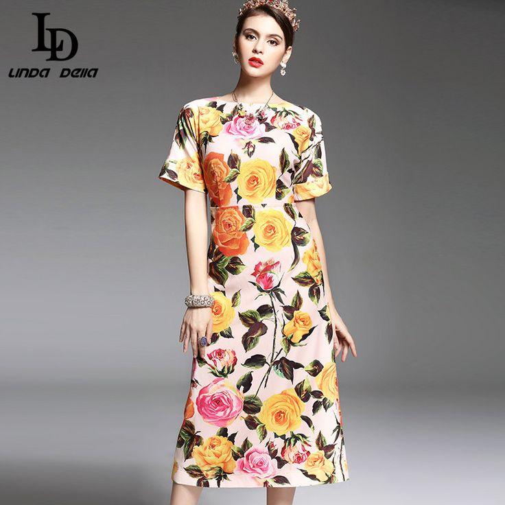 New 2017 Fashion Runway Designer Spring Summer Dress Women's Short Sleeve Colored Button Elegant Rose Floral Printed Dress