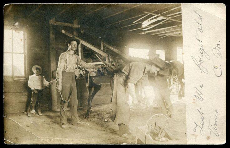 RPPC Postmarked BANCROFT Ontario Canada Sept 03 1906 Hastings County.  Blacksmiths Shop Horse Child Tools Horseshoes Workmen.  Mailed to Sherwood North Dakota USA