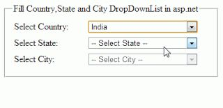 Ajax CascadingDropDown example in asp.net to Fill DropDownList with Countries,states and cities. http://www.webcodeexpert.com/2013/07/ajax-cascadingdropdown-example-in.html