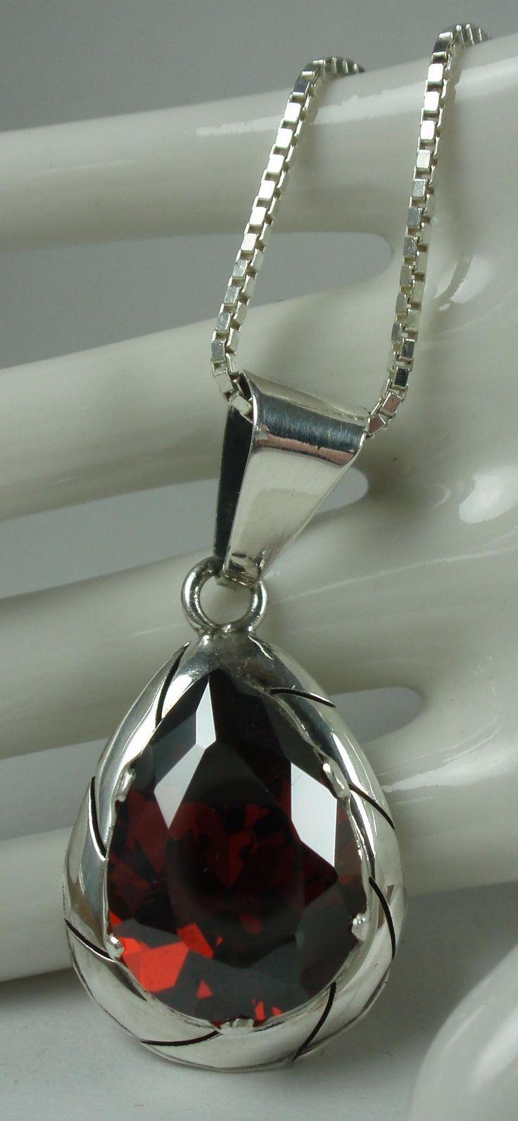 Sterling Pyrope Garnet Pendant Necklace