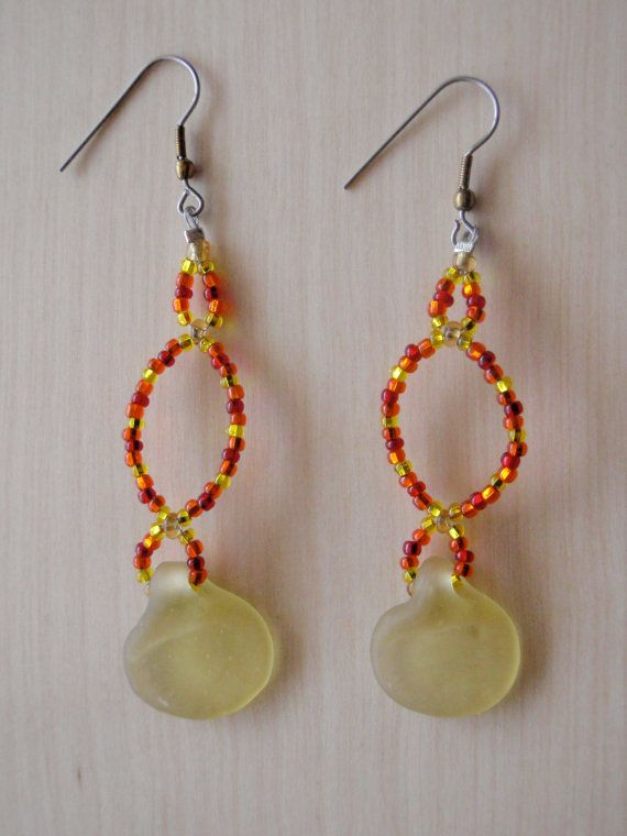 Warm coloured earrings with yellow matte by RosemarysJewellery