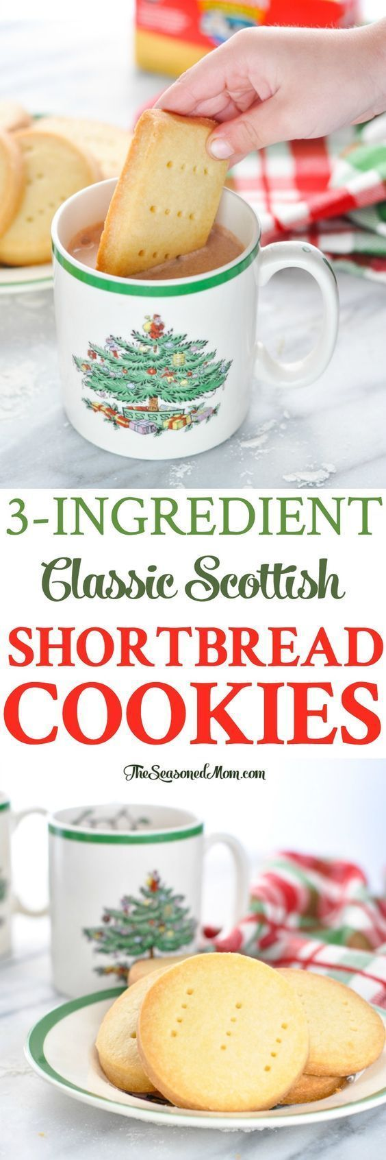 These 3-Ingredient Classic Scottish Shortbread Cookies are an easy dessert that's perfect for Christmas! Cookie Recipes | Baking | Christmas Cookies #cookies #christmas #baking