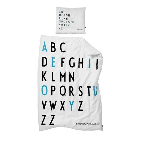 Bed set from Danish company Design Letters featuring Arne Jacobsen's typography from 1977.