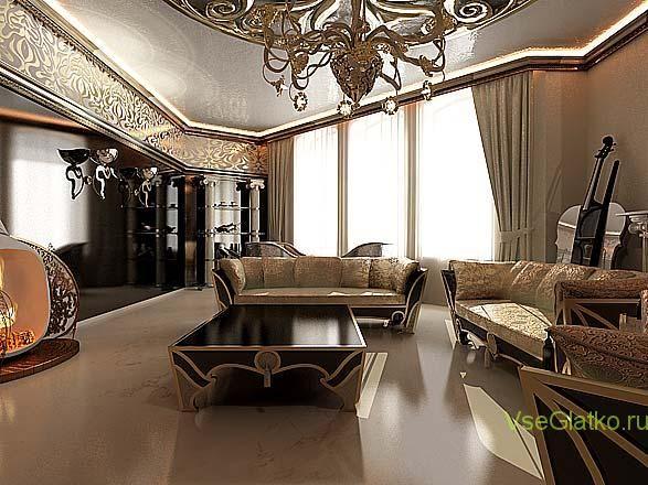 Стиль Арт-деко в интерьере гостиной-2 Смешанный стиль в интерьере гостиной, кухни,   спальной, ванной в дизайне квартир и домов - читайте здесь: http://vseglatko.ru/смешанные-стили-интерьера/