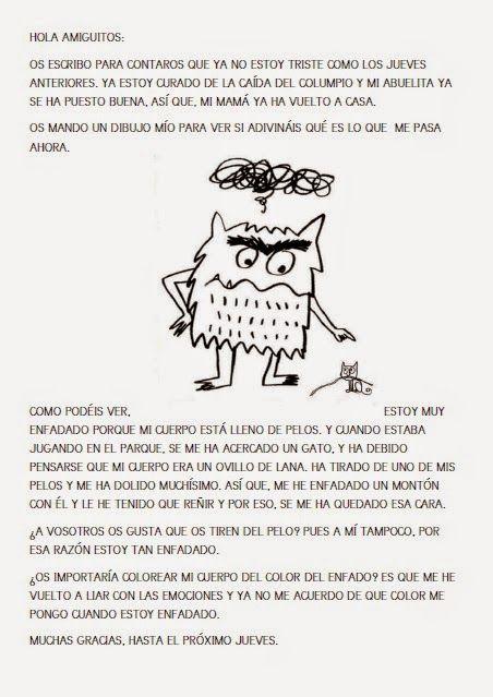 Una semana más, hemos recibido carta de....¡EL MONSTRUO DE COLORES! Esta vez el monstruo ya no estaba triste, estaba enfadado. ¿Queréis sab...